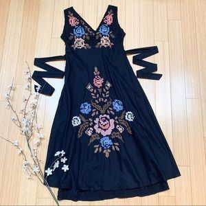JOHNNY WAS embroidered midi dress, L.
